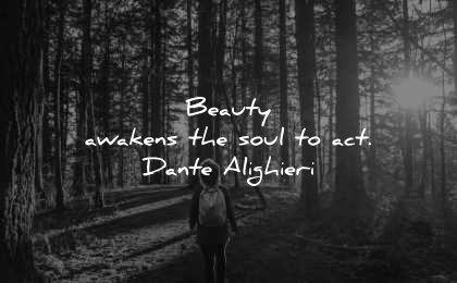 beautiful quotes beauty awakens soul act dante alighieri wisdom forest