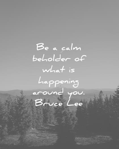 bruce lee quotes be a calm beholder what happening around you wisdom