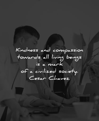 compassion quotes kindness towards living beings mark civilized society cesar chavez wisdom