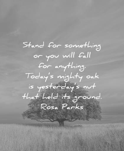 courage quotes stand for something you will fall anything todays mighty oak yesterdays that held ground rosa parks wisdom