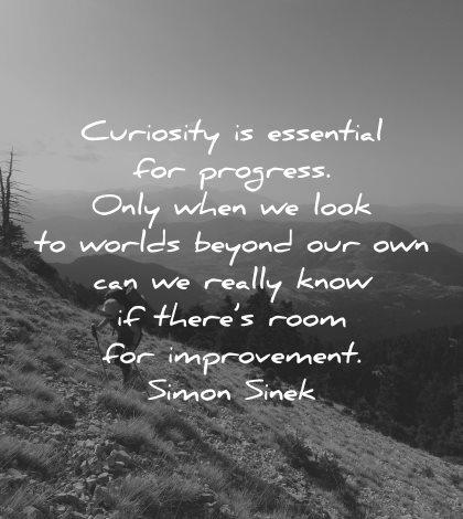 curiosity quotes essential progress look worlds beyond simon sinek wisdom nature hike