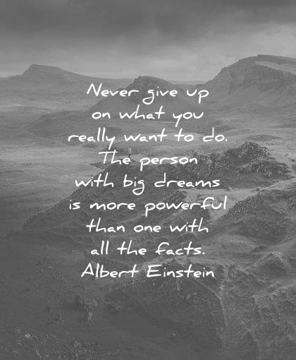 dream quotes never give what really want person big dreams powerful than with facts albert einstein wisdom