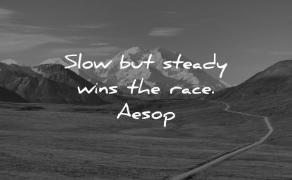 ego quotes slow steady wins race aesop wisdom nature path