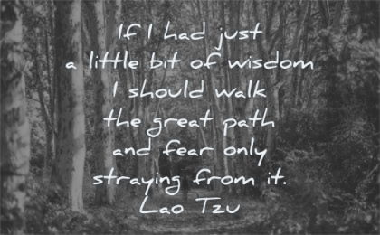 fear quotes little wisdom should walk great path only straying from lao tzu wisdom forest