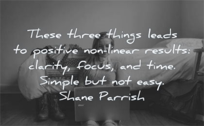 focus quotes there three things leads positive non linear results clarity time simple easy shane parrish wisdom woman sitting laptop bed working
