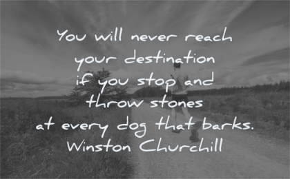 focus quotes never reach your destination stop throw stones dog barks winston churchill wisdom man running