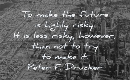 future quotes make highly risky less risky however than not try make peter drucker wisdom city dubai