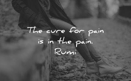 healing quotes cure pain rumi wisdom woman sitting