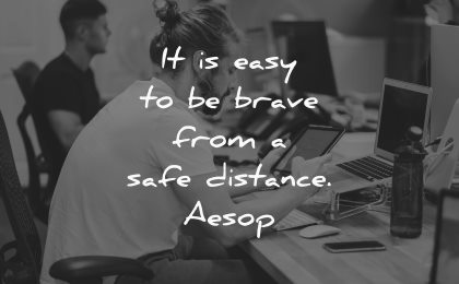 easy brave from safe distance aesop wisdom man tablet