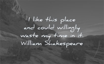 nature quotes like this place could willingly waste time william shakespeare wisdom desert sun