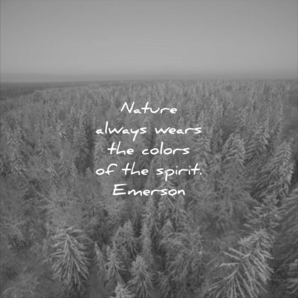 nature quotes always wears the colors the spirit ralph waldo emerson wisdom trees winter snow