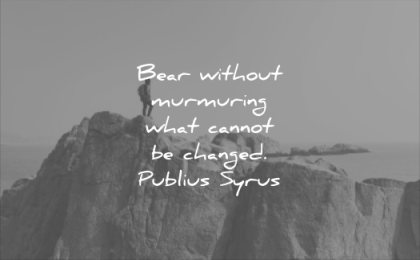 never give up quotes bear without murmuring what cannot changed publis syrus wisdom mountain rocks man nature