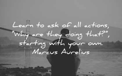 philosophy quotes learn ask actions why doing that starting with your own marcus aurelius wisdom