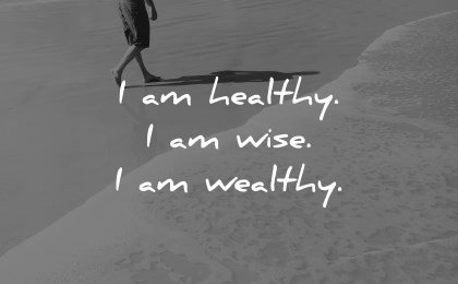 positive affirmations healthy wise wealthy wisdom beach waves