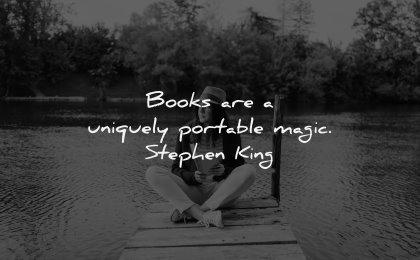 reading quotes books uniquely portable magic stephen king wisdom woman sitting