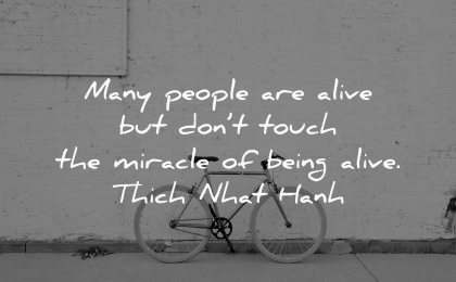 sad quotes many people alive dont touch miracle being thich nhat hanh wisdom bike wall