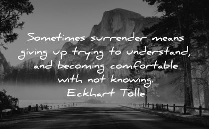 serenity quotes sometimes surrender means giving trying understand becoming comfortable with not knowing eckhart tolle wisdom nature mountains trees mist