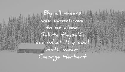 solitude quotes all means use sometimes alone salute thyself see what thy soul doth wear goerge herbert wisdom