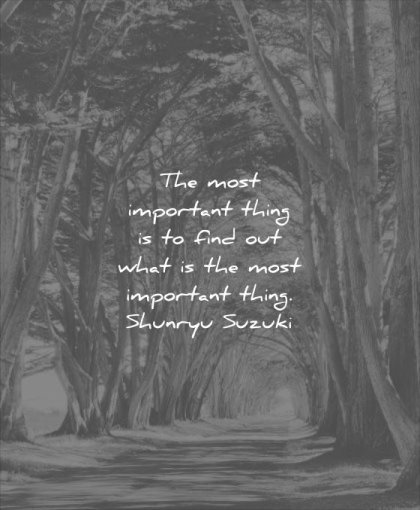 thought of the day most important thing find out what most thing shunrya suzuki wisdom